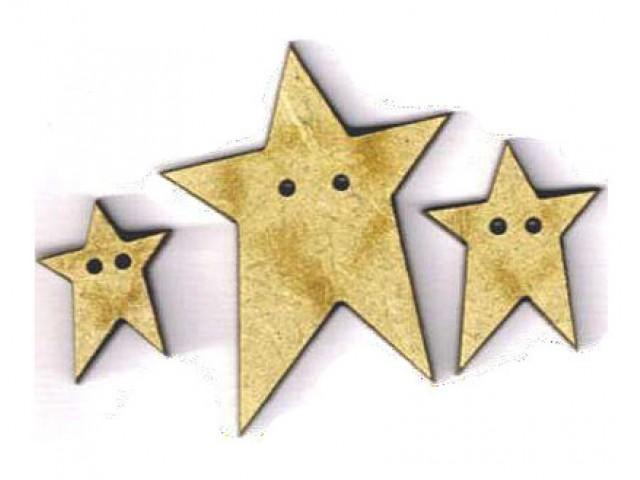 Botón Madera 3 Estrellas