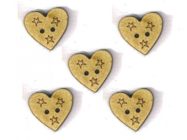 Botón Madera Corazón con Estrellas (x5)