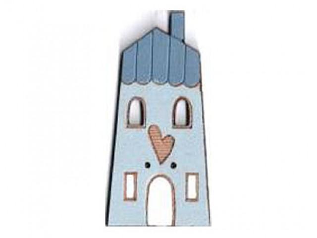 Botón Madera Pintada Casa Azul