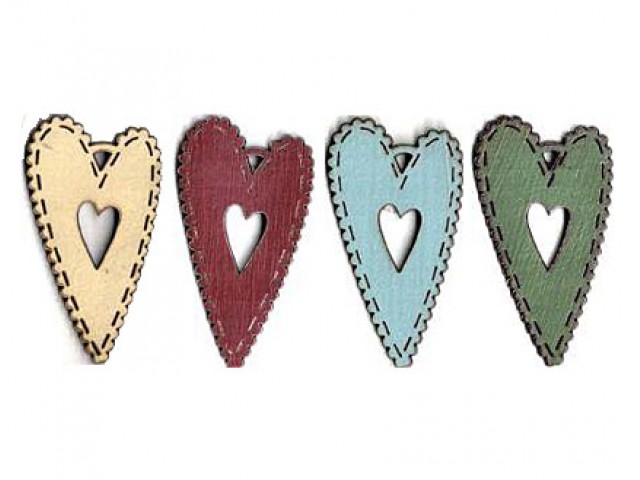 Botón Madera Pintada Corazón Doble Varios Colores