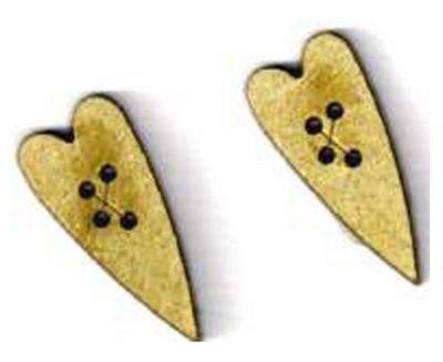 Botón Madera Corazón (x2)