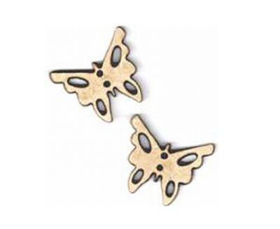 Botón Madera Mariposas (x2)