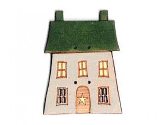 Botón Madera Pintada Casa Verde