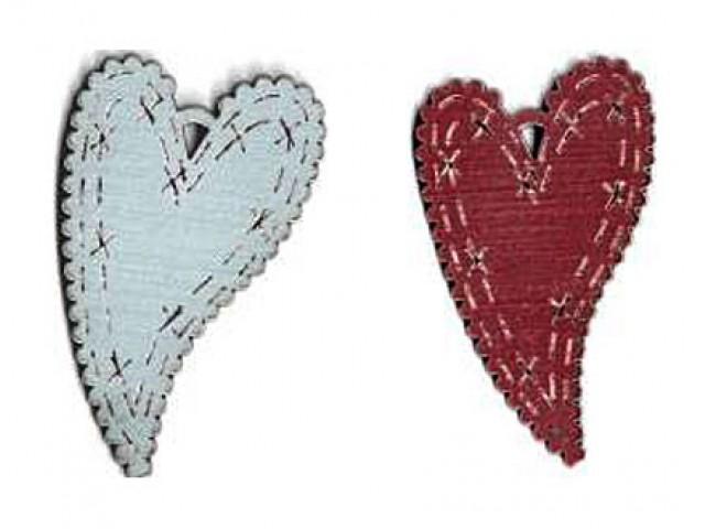 Botón Madera Pintada Corazón Curvado Azul o Rojo