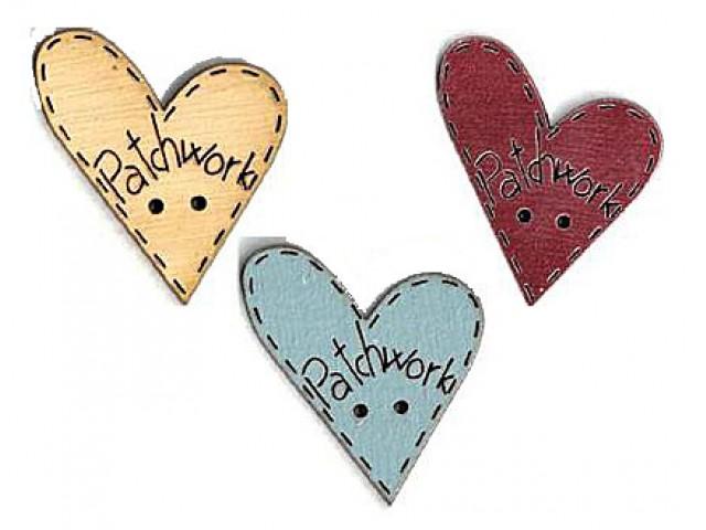 Botón Madera Pintada Corazón Patchwork Varios Colores