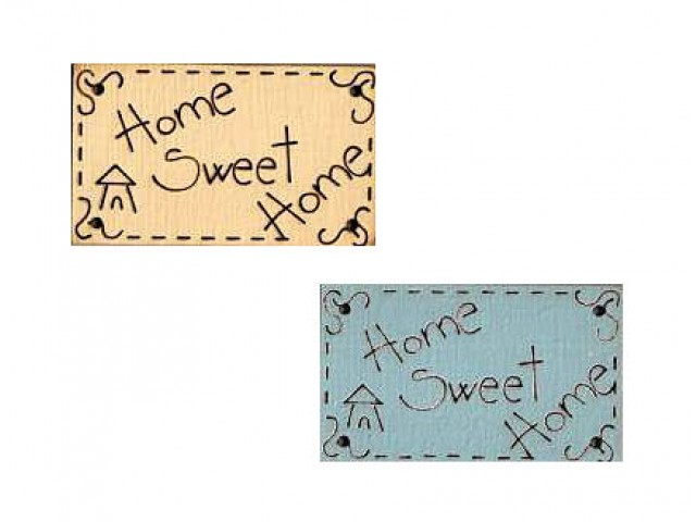 Botón Madera Pintada Home Sweet Home Azul y Beige