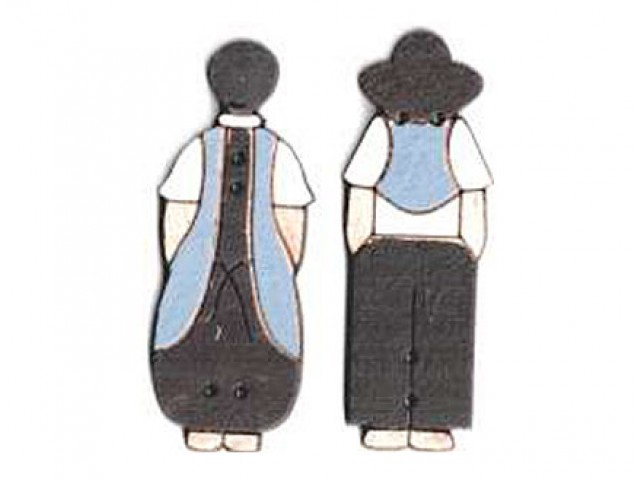 Botón Madera Pintada Pareja Amish