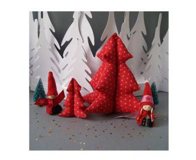 Frou-frou. Kit de costura DIY Árboles de Navidad rubí brillantes