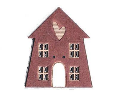 Botón Madera Pintada Casa Granate