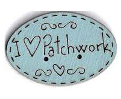 Botón Madera Pintada I Love Patchwork Azul