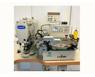Máquina de coser botones con alimentador automático Brother con motor Direct Drive BE-438FX