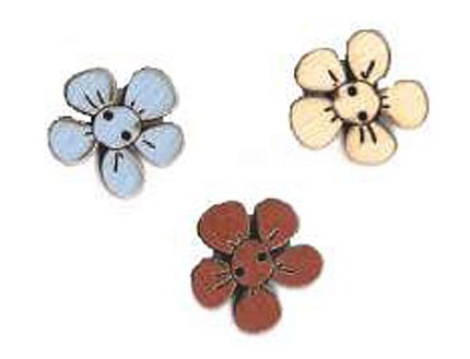 Botón Madera Pintada Flores (x3)